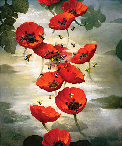Painting of bees and flowers in the fog