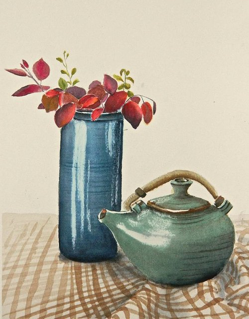A watercolour painting of a teapot and a vase on a tablecloth