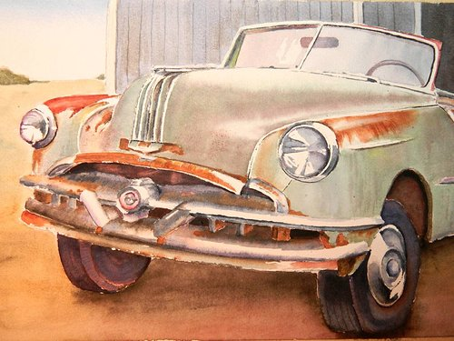 A watercolour painting of a rusted old pontiac car