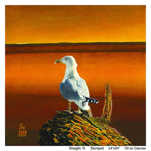 An oil painting of a seagull sitting and looking out over the water
