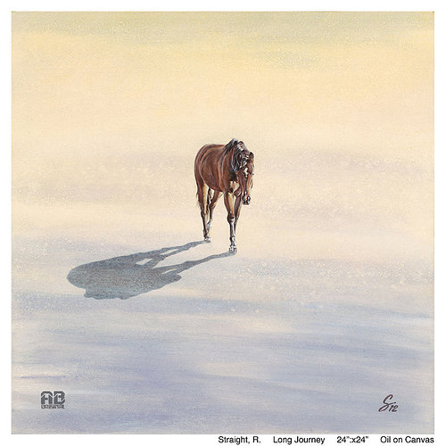 An oil painting of a lone horse walking through a snowy landscape