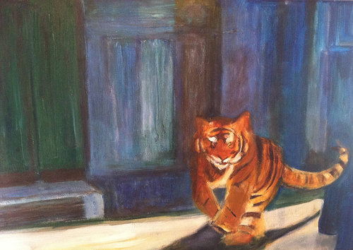 An acrylic painting of a tiger walking through a dark, abstracted space
