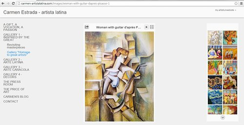A screen capture of Carmen Estrada's art on her website