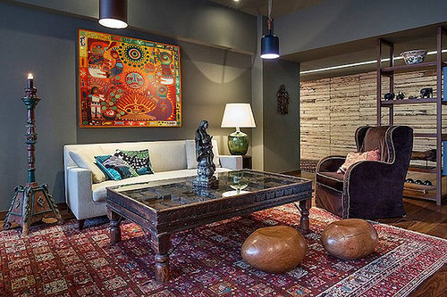 A photo of one of Carmen Estrada's paintings installed in an apartment