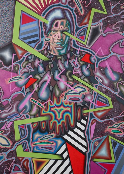 A painting composed of several abstracted faces in neon colours