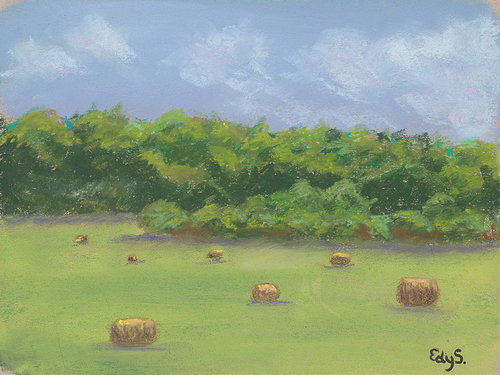 A pastel drawing of a field with bales of hay strewn throughout