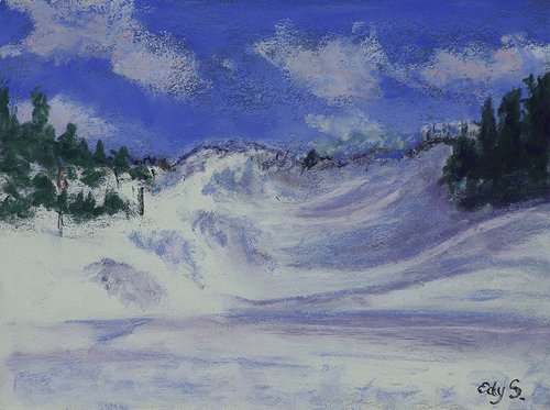 A pastel drawing of a snow-covered dune in Michigan