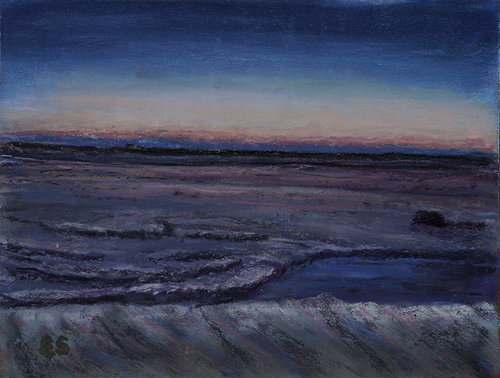 A pastel drawing of a beach in San Diego at twilight