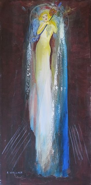 A long, slightly abstracted painting of a tall young woman dressed in white