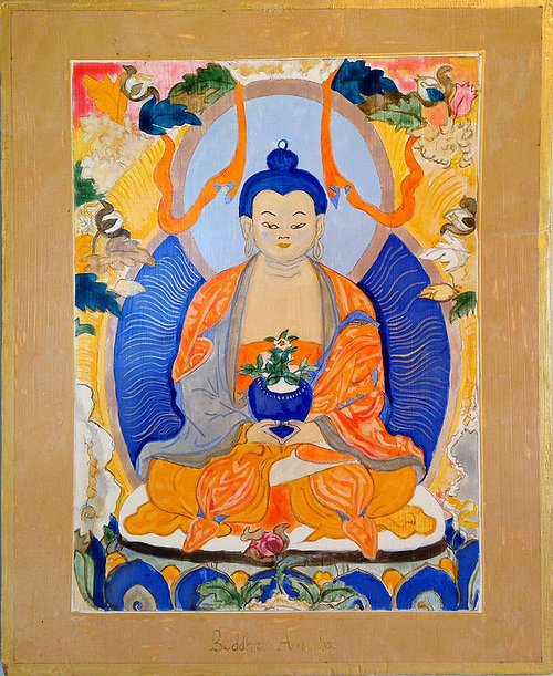 An egg-tempera painting of a traditional buddha