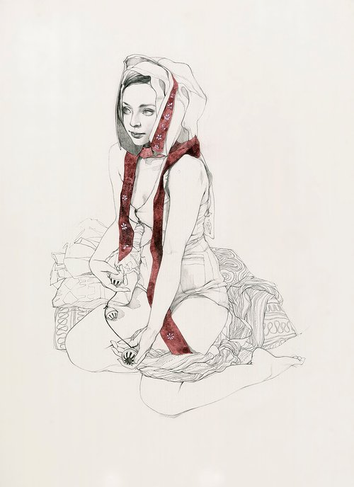 A drawing of a girl wrapped in a red scarf, sitting on a blank background
