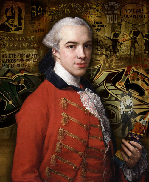 A classical-style portrait of a military figure set on a background of graffiti