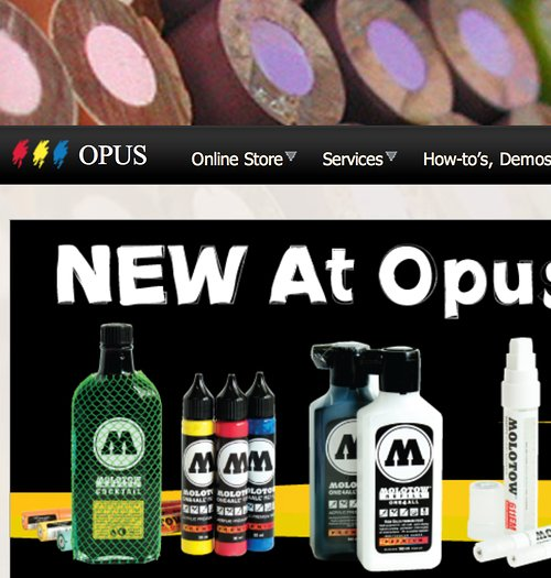 Opus Framing and Art Supply website