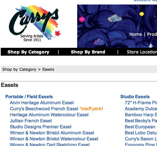 Curry's Art Store website