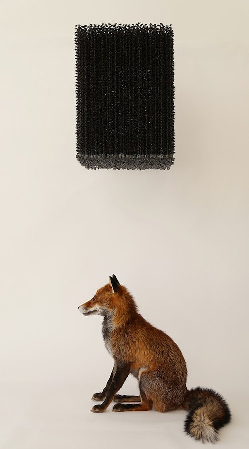 A sculpture of a taxidermy fox with a cube of bluebottles suspended over it