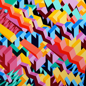 An abstract painting with multicoloured geometric blocks
