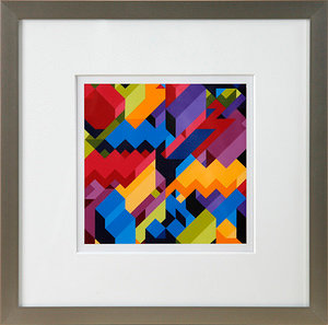 A matted and framed geometric abstract painting