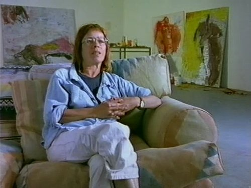 An interview photo of Susan Rothenburg seated in her art studio