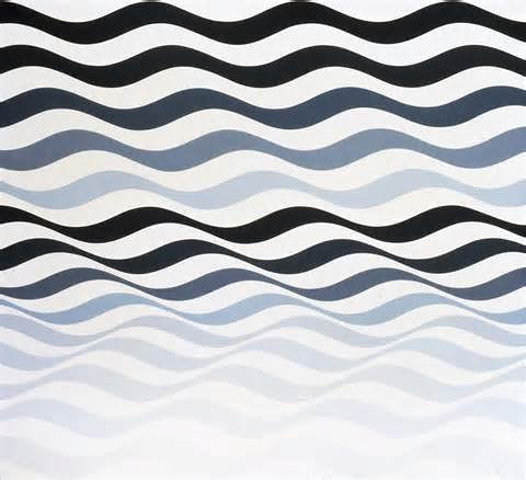 A Bridget Riley painting of several wavy lines in greyscale