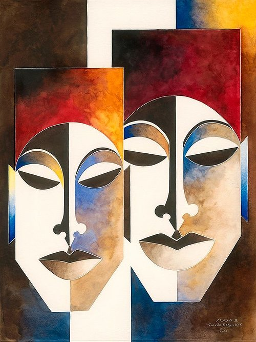 A painting of two African masks by Cecile Blanche Bekolo Koe
