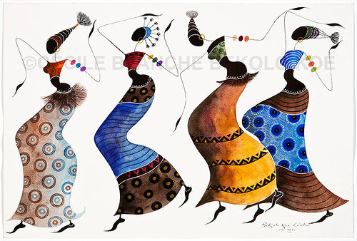 A stylized painting of a traditional African dance