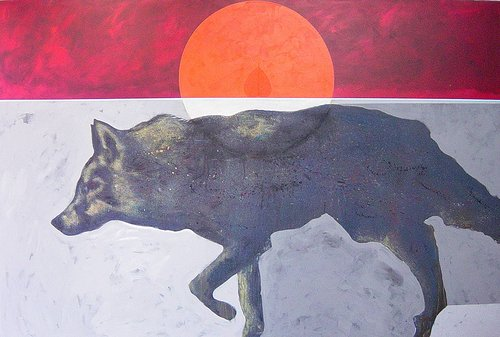 A painting of a coyote hunting on a plain