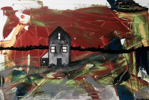 A painting of a gray house on a wildly abstracted background