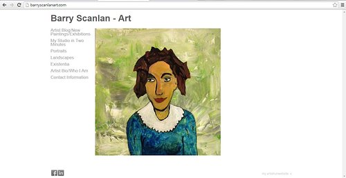 A screen capture of the front page of Barry Scanlan's art website