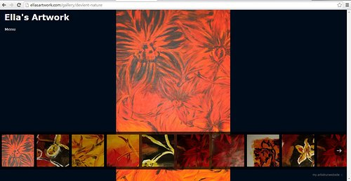 A gallery screen capture on the art website of Ella Sandow