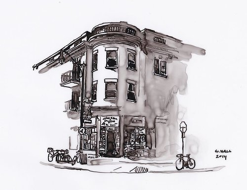 A pen and ink drawing of a corner shop front in Montreal