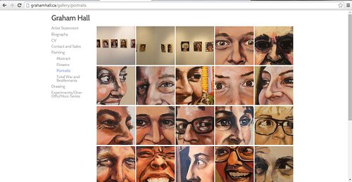 A screen capture of Graham Hall's website on the portrait gallery page
