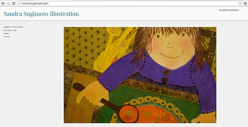 A screen capture of the front page of Sandra Sugimoto's illustration website