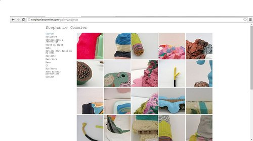 Screen capture of Stephanie Cormier's objects gallery on her website