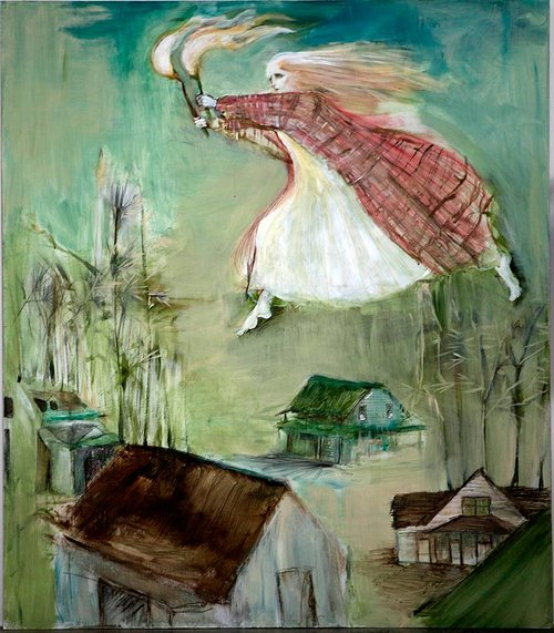 A mixed-media artwork with the figure of a woman flying over houses