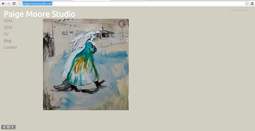 Paige Moore's studio website, front page screen capture