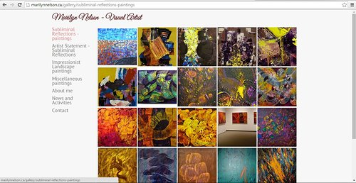 Screen capture of a gallery of paintings on Marilyn Nelson's website