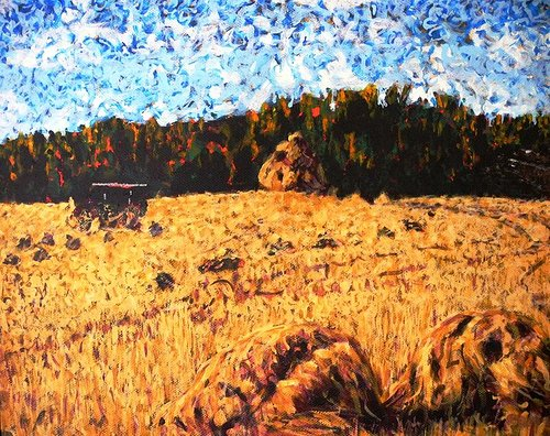 An impressionist-style painting of a rural farm in Saskatchewan