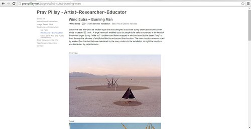 A screen capture on Prav Pillay's website of an outdoor art project