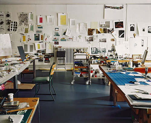 A photo of drawings in Rachel Whiteread's studio taken in 2010