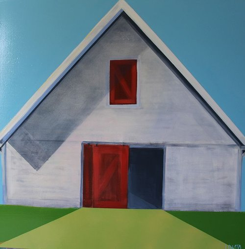 A painting of a barn using bright colours and flat planes