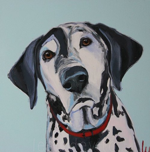 A painting of a sad-looking dalmatian