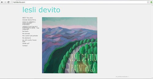 A screen capture of Lesli Devito's art website