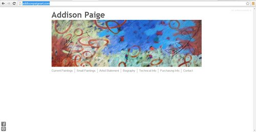 Screen capture of Addison Paige's painting website