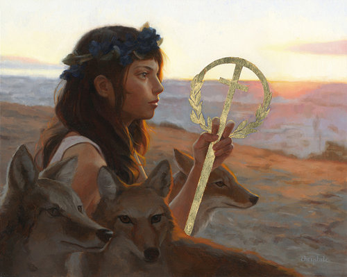 A painting of a young woman herding several wolves