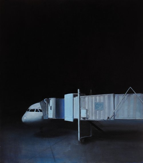 A painting of an airplane at the airport at night