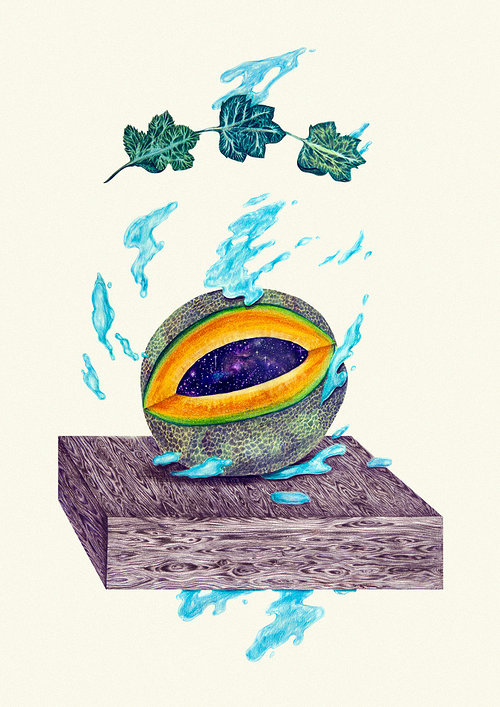 A drawing of a cantaloupe with the universe inside it