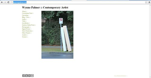 The front page of Wynne Palmer's art website