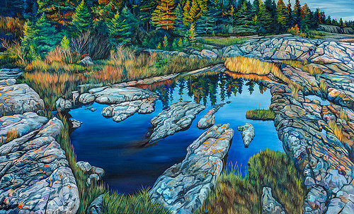 A landscape painting of water in a rocky cove