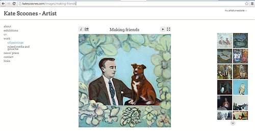 A gallery screen capture of oil paintings on Kate Scoones' website