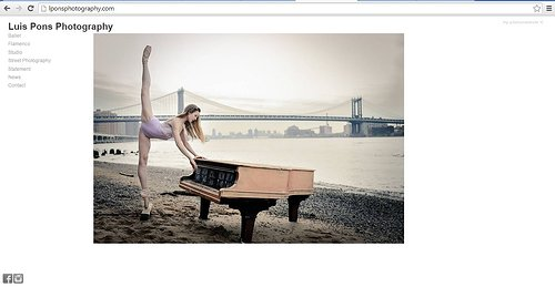 A screen capture of the front page of Luis Pons' photography website